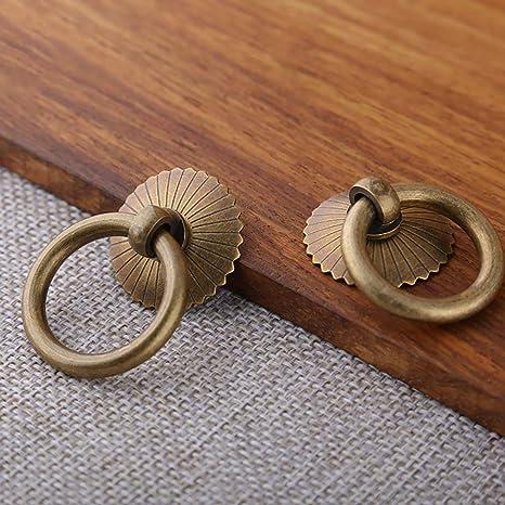 tiroirs Tiazza Lot de 2 anneaux de tirage en laiton antique pour armoires de cuisine meubles de style r/étro placards