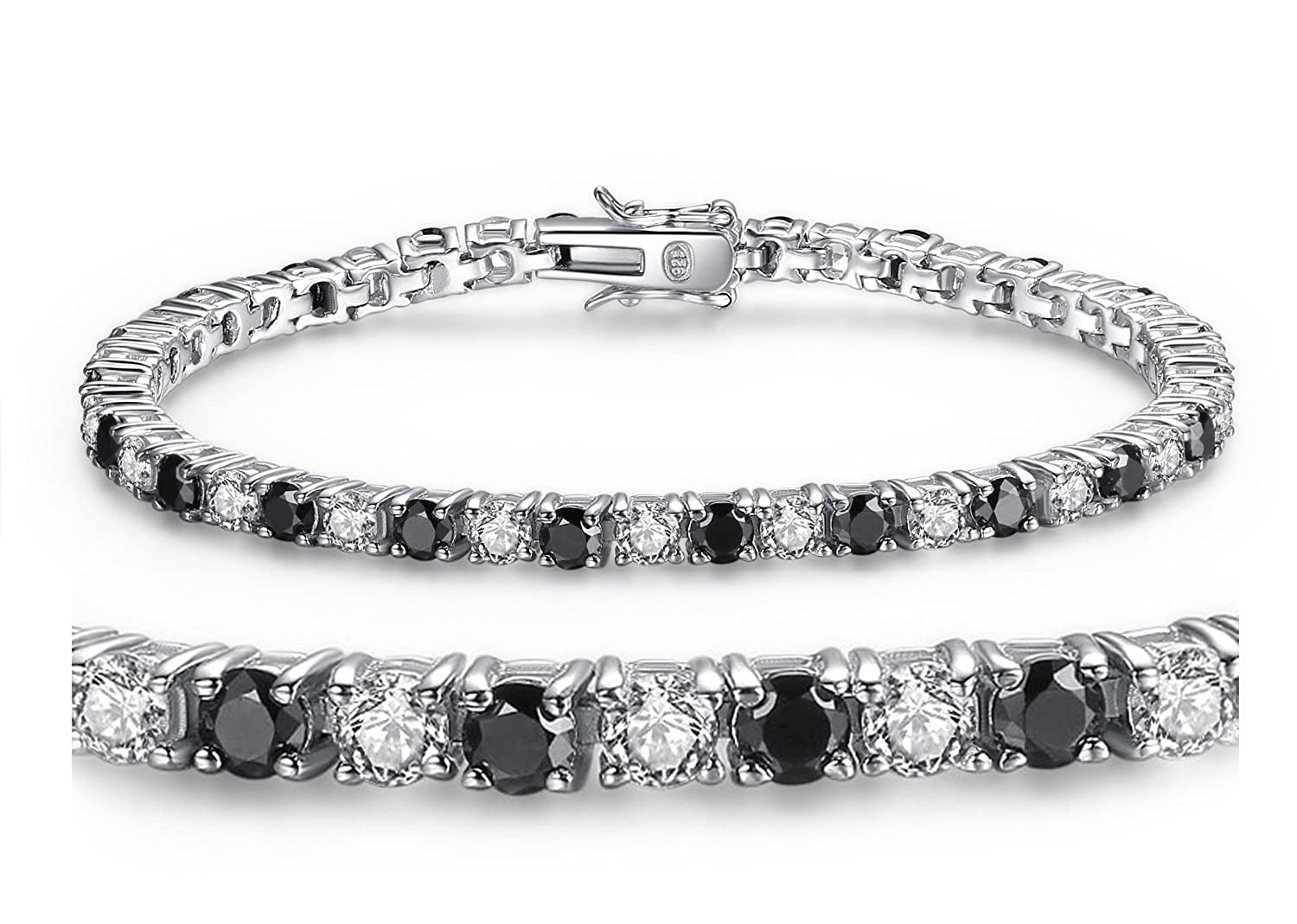 MABELLA Sterling Silver Black & White Round Cut Cubic Zirconia Tennis Gem. Bracelet 7