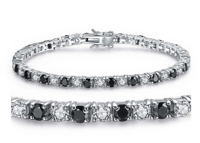 MABELLA Sterling Silver Black & White Round Cut Cubic Zirconia Tennis Gem. Bracelet 7 Inches