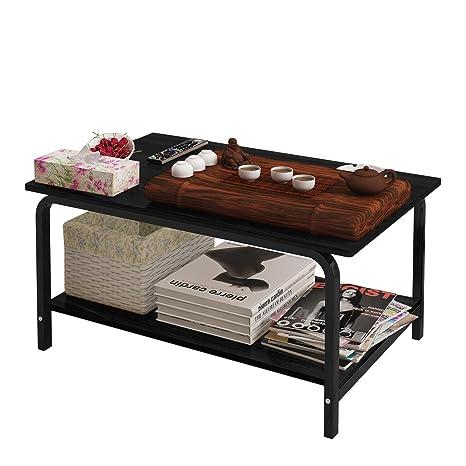Amazon.com: Mesa de centro rectangular con estante de ...