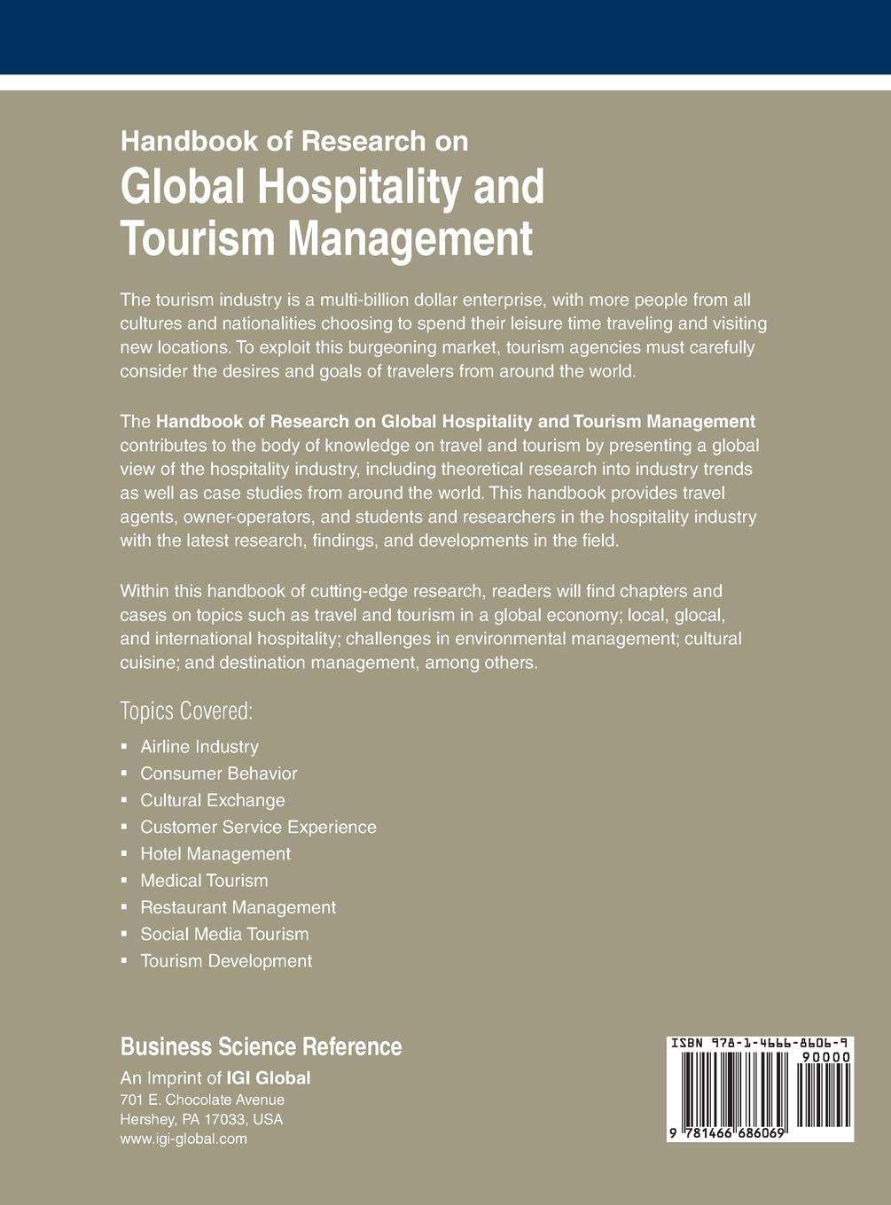 Handbook of Research on Global Hospitality and Tourism