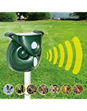 Acidea Solar Animal Repeller, Waterproof Outdoor Raccoon Repellent with Motion PIR Sensor and Flashing Light for Cats, Dogs, Squirrels, Moles, Rats, Deer, Foxes