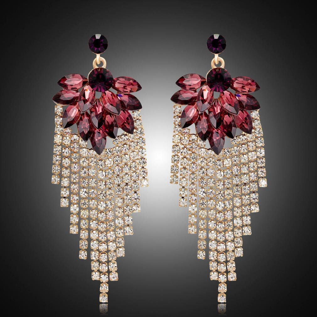 YAZILIND Garnet drop earrings white topaz rhinestone luxurious zirconia gold plated studs