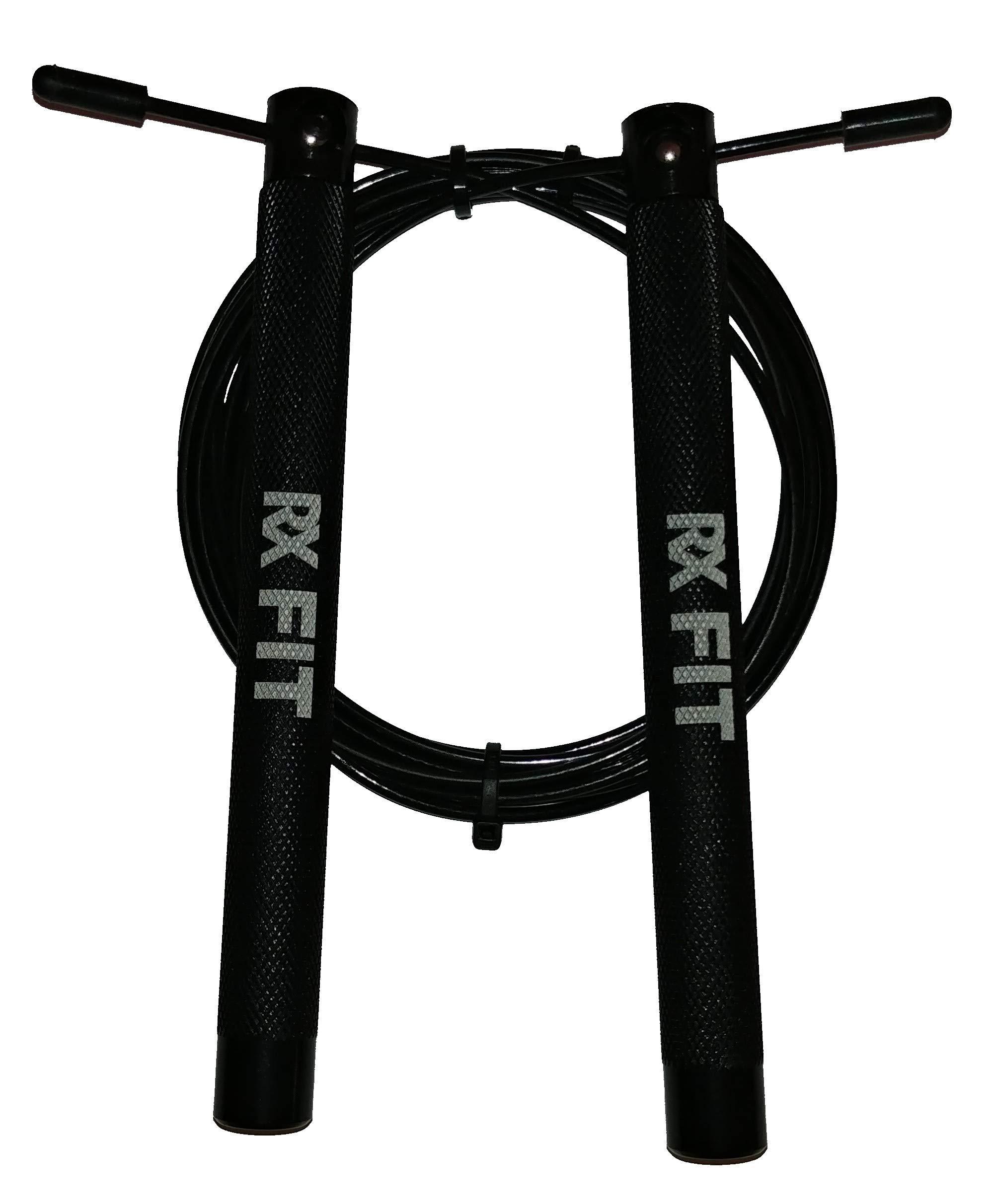 RxFIT Light Aluminum Handled Crossfit Jump Rope (Black)