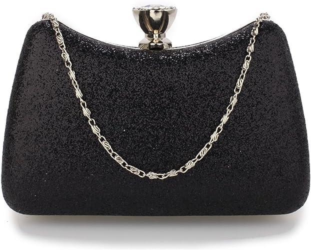 Designer Women Glitter Faux Leather Ladies Evening Clutch Bag Bridal Party UK