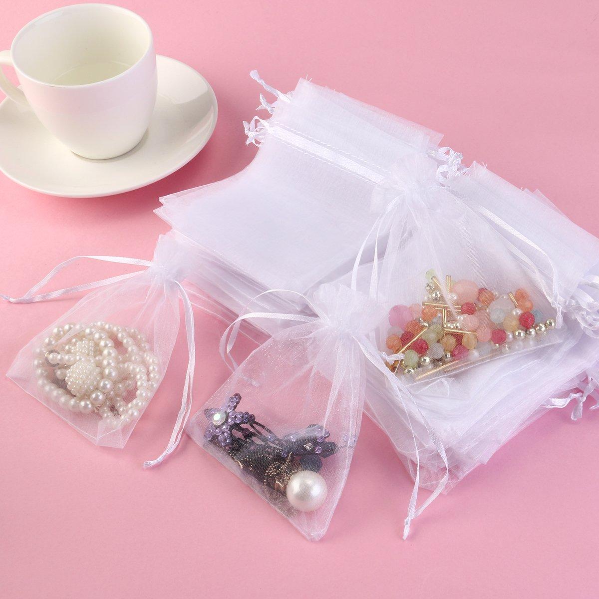 Amazon.com: Foxnovo Organza Drawstring Gift Bags (50Pcs -13x18cm ...