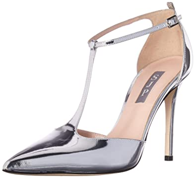 08f66f03d78 SJP by Sarah Jessica Parker Women s Taylor Closed Toe T-Strap Pump Silver  Patent 36.5