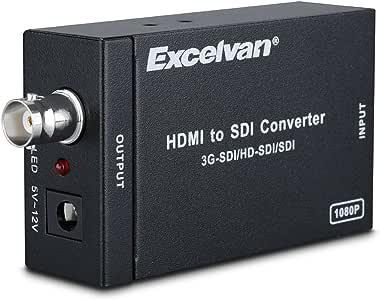 Excelvan SDI to HDMI Converter Adapter Mini 3G Full HD 720P 1080P Splitter Supports SD-SDI HD-SDI 3G-SDI Extend Signals (Black) (hdmi to sdi)