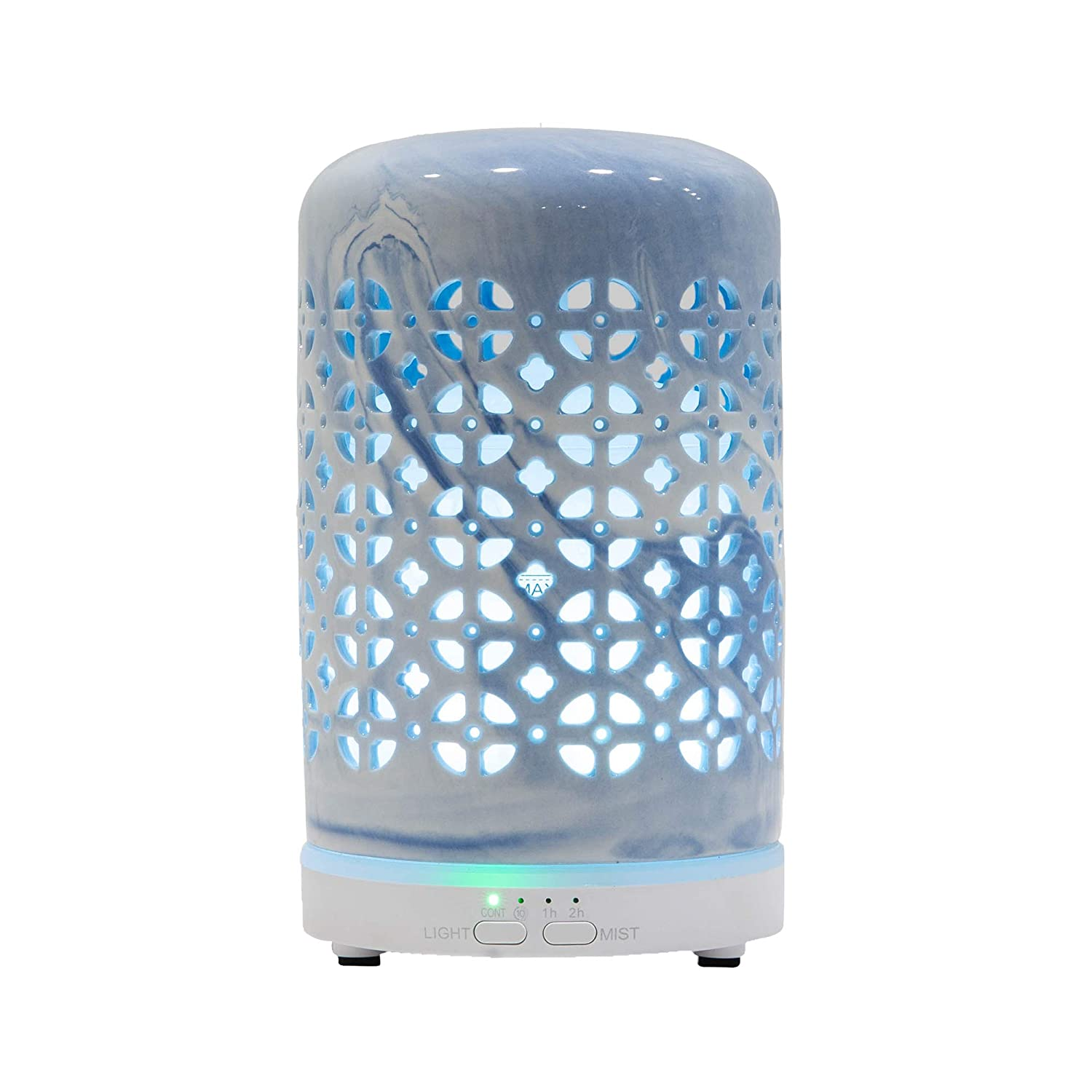 HAWOO Ceramic Oil Diffusers for Essential Oils for Home, Small Vintage Aromatherapy Diffuser with Auto Shut-Off Protection, 7 Color Changing Light, Cool Mist Humidifier for Office Bedroom (Blue)
