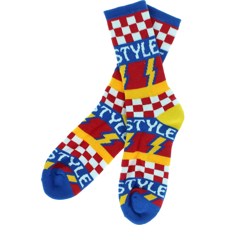 Bro Style Lightening Bolt Crew Socks Blue 1 Pair Skate Socks