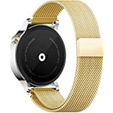 18mm 20mm 22mm Reloj Bandas Pinhen Reemplazo liberación rápida Correa Banda de Milanese bucle magnético de acero inoxidable para MOTO 360 Pebble Time LG G Watch Smart Watch (22MM Gold)