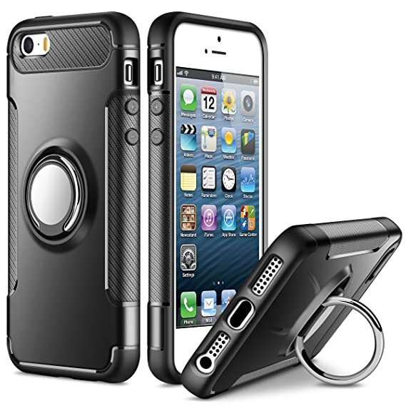 differently 40245 c2daf SAMONPOW Kickstand Cover for iPhone 5 Case iPhone SE Case iPhone 5s Case  Slim Fit Hybrid Armor Shock Absorption Drop Protection Cover Rubber Rugged  ...