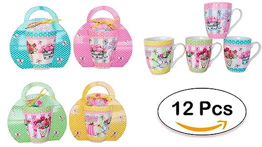 DISOK Lote DE 12 Tazas Flores - Ideal para Detalles Cumpleaños, Eventos, Celebraciones