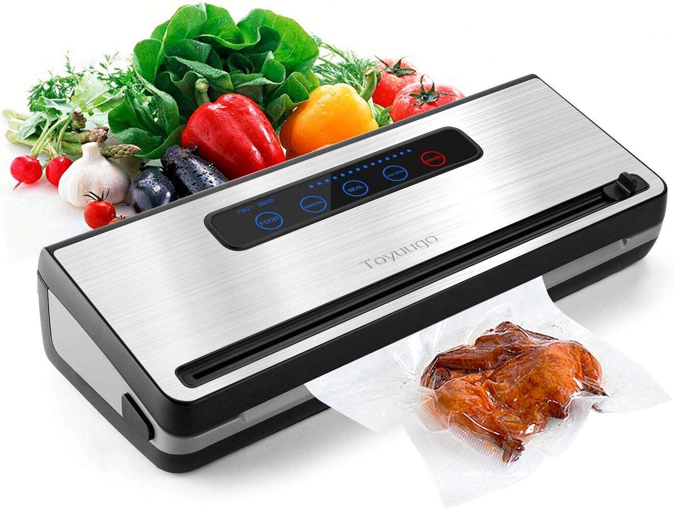 Upgraded Vacuum Sealer Machine, Toyuugo Automatic Vacuum Air Sealing System with Dry Moist Food Modes and One Roll Starter Kit for Food Preservation and Sous Vide Silver