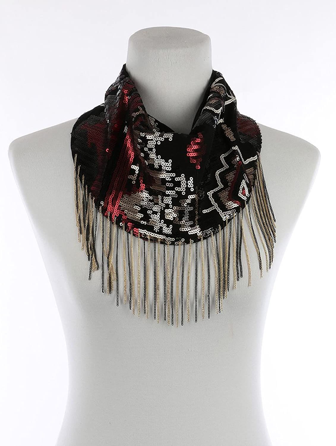 Parisian Chic Scarf Sequin Bib Chain Fringe Mesh Fabric Tulle Double Layer Snap Closure One Size black