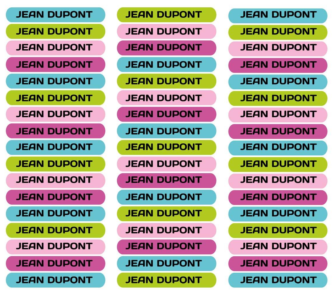 Colore 14 50 Etichette Adesive Personalizate per contrassegnare libri e portapranzo Misura 6 x 1 cm.