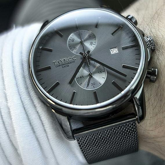 Reloj hombre RELOJ tayroc Iconic Black Classic cronógrafo acero inoxidable cuarzo reloj de pulsera txm094: Amazon.es: Relojes