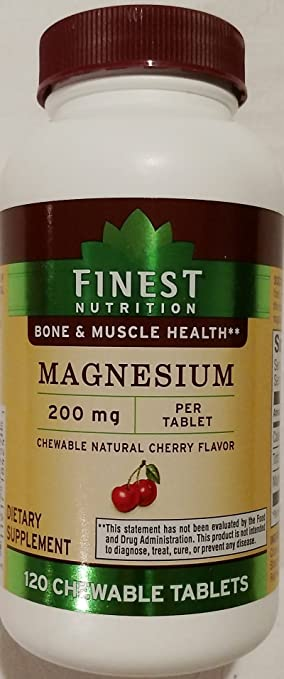 Finest Nutrition Magnesium 200 mg 120 Chewable Tablets