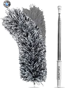 Kelursien Extendable Duster with Stainless Steel Extension Pole, 100 Inches Extra Long Telescopic Dusters, Cobweb Duster with Bendable Head for Cleaning Blinds, Interior Roof, Ceiling Fan