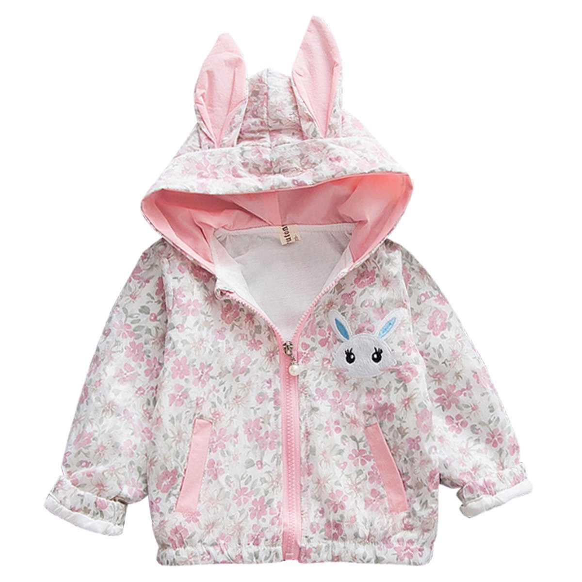 BeboneToddler Baby Girls Hooded Jacket Floral Pattern Coat Rabbit Windbreaker Outwear
