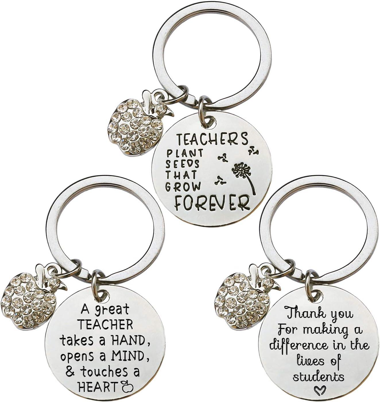 XYBAGS 3 Piece Teacher Appreciation Gifts for Women, Teacher Keychain Jewelry Gift, Graduation Gifts for Teachers Women (Style A)