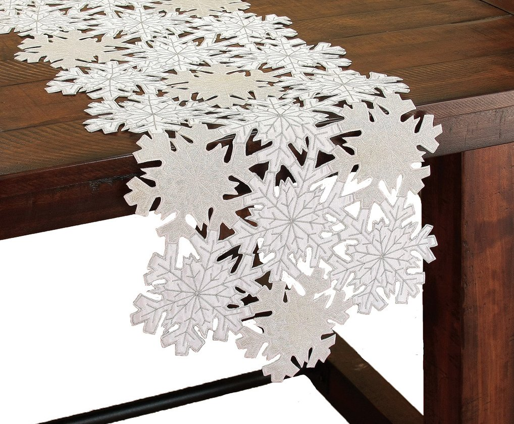 Xia Home Fashions Shimmer Snowflake Embroidered Cutwork Christmas Table Runner, 16 by 34-Inch
