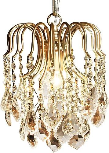 HAIXIANG Modern Mini Chandelier Crystal Flush Mount Ceiling Pendant Light Fixture for Bedroom, Dining Room, Living Room 1-Light Gold Fixture with Bulb