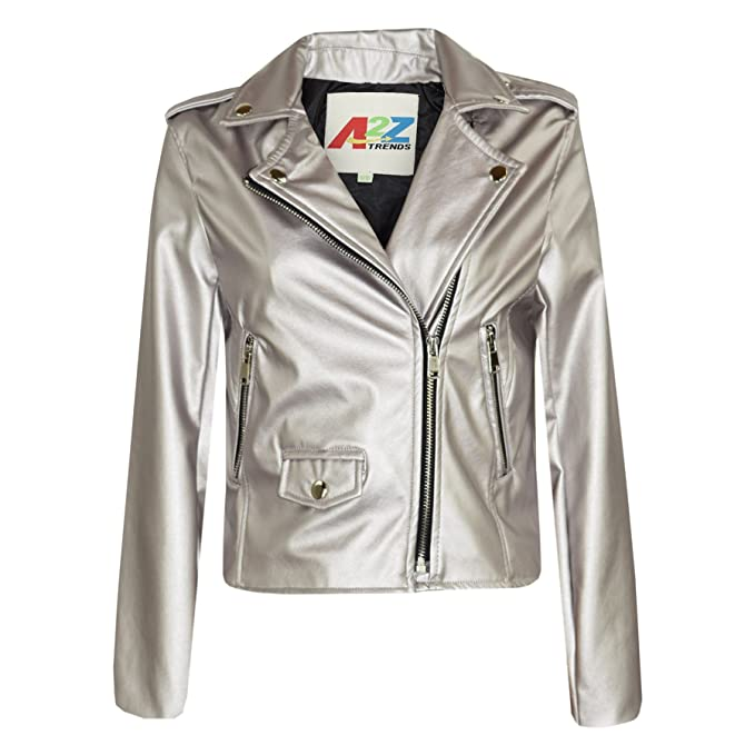 Amazon.com: Kids Jackets Girls Designers PU Leather Silver Jacket Zip Up Biker Coats 5-13Yr: Clothing
