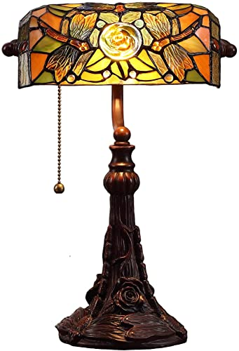 Bieye L10308 Dragonfly Tiffany Style Stained Glass Banker Desk Table Lamp