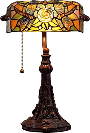 Bieye L10308 Dragonfly Tiffany Style Stained Glass Banker Desk Table Lamp With 10 Inches Wide Lampshade For Reading Working 16 Inches Tall Amber Amazon Com