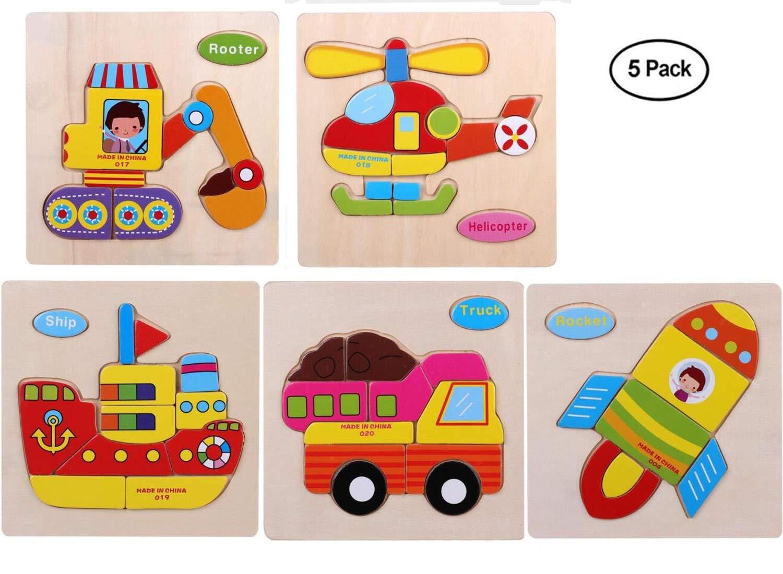 av 3D木製ジグソーパズルセット 幼児 子供 アニメ 動物パズル インテリジェンス ルーター トラック ヘリコプター 船 ロケット (5個パック)   B07GS134LM