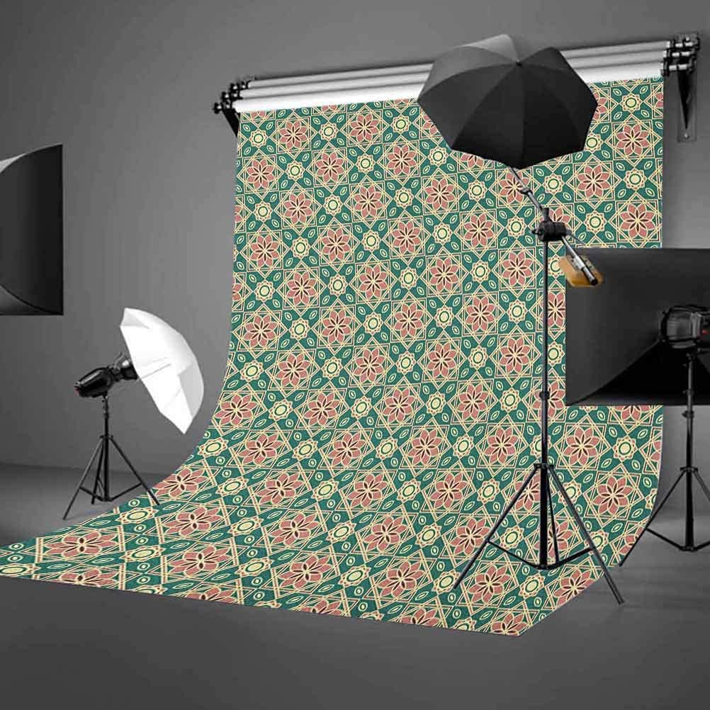 9x16 FT Vinyl Photography Backdrop,Vintage Mosaic Design of Florets Zigzag Borders Oval Details Background for Baby Birthday Party Wedding Studio Props Photography