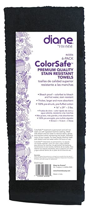 Amazon.com : Diane Fromm Color Safe Premium Quality Stain Resistant Towels 16 inch by 29 inch 6 pack Black : Beauty