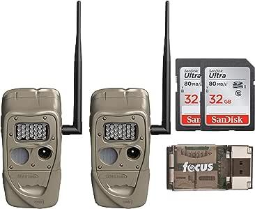Cuddeback J-1521 CuddeLink Long Range IR Trail Camera (2-Pack) with 32GB SD Cards and Card Reader Bundle (3 Items)