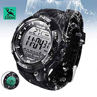Tekmagic 10 Atm Digital Submersible Diving Watch 100m Water Resistant Swimming Sport Wris Ch Luminous Lcd Screen