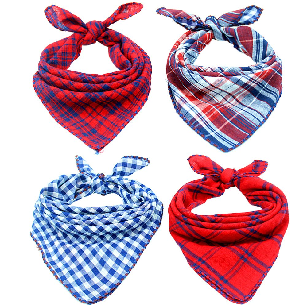 Invlab Dog Bandanas - 4 Pack Washable Triangle Bibs Scarfs, Reversible Plaid printing Kerchief for Dogs and Cats,4 Styles