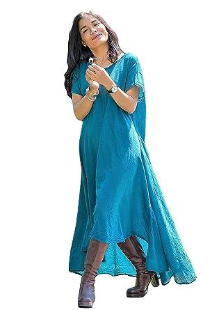 02bc1061741 Women s Blue Teal Summer Dresses Irregular Long Maxi High Low Hem Cotton  Clothing