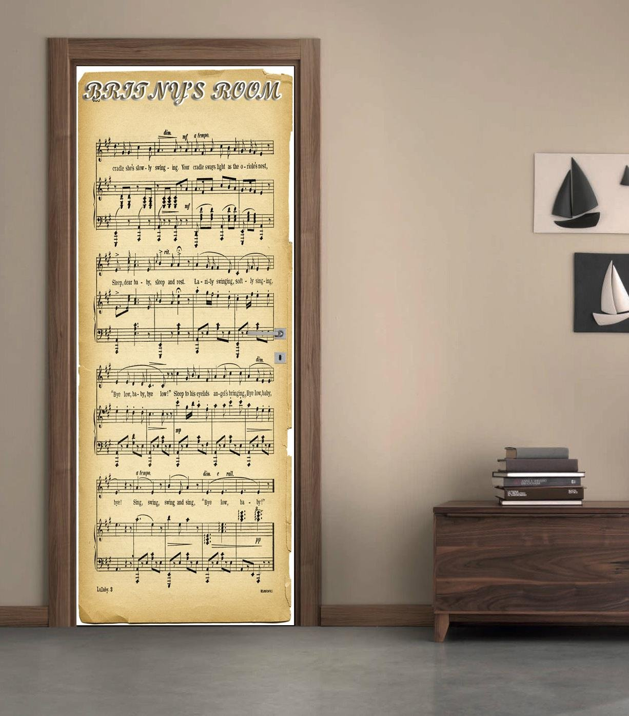 Amazon.com: Musical Notes Sheet DOOR WRAP Removable Decal Wall ...