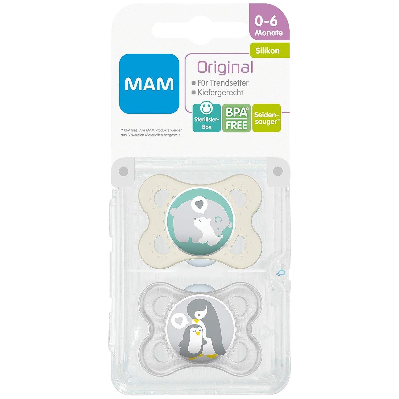 Paquete doble en surtidos colores 542420 Dummies MAM originales libres de BPA silicona con dise/ños unisex para Meses Edades 0-6