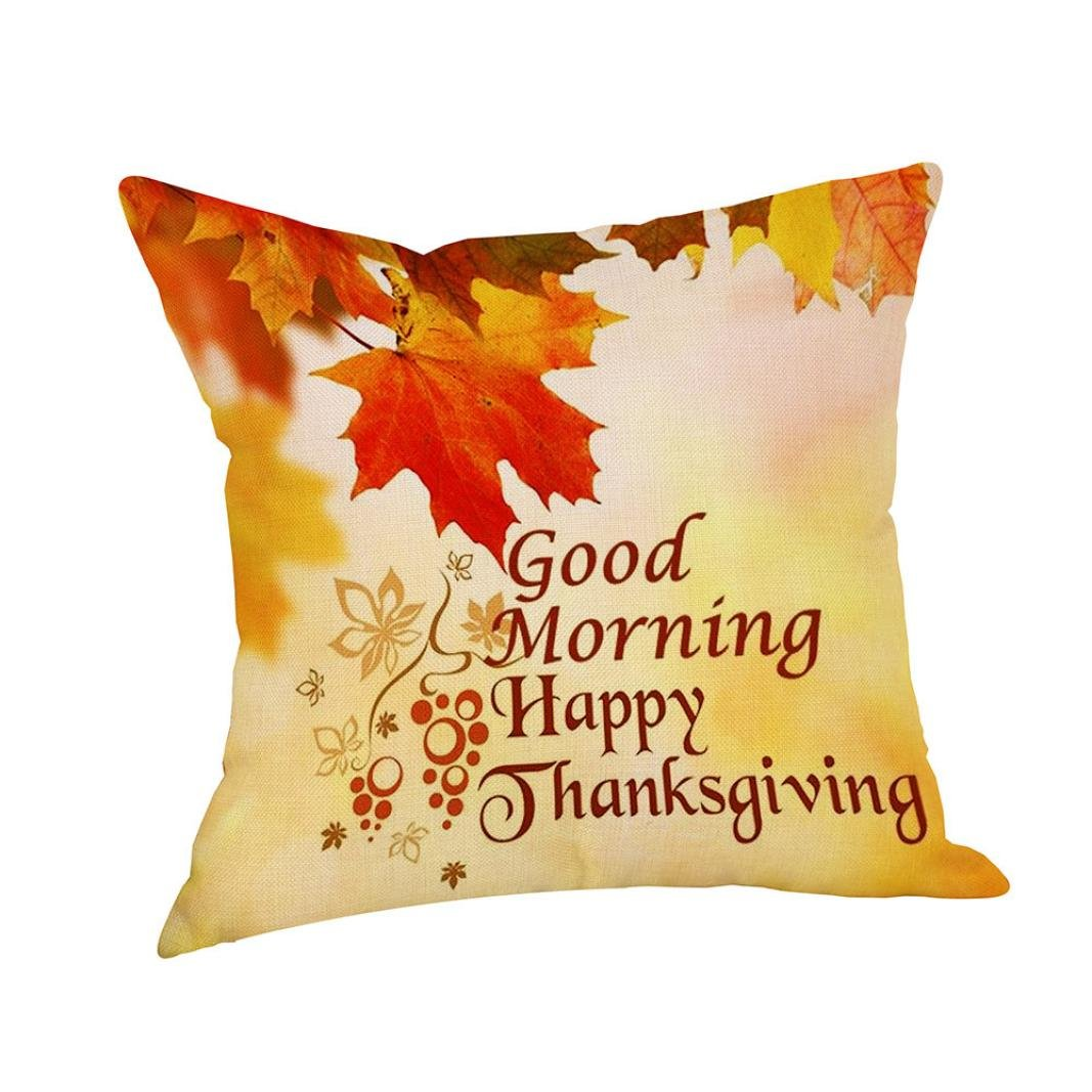 Clearance!!!Happy Fall Thanksgiving Day Home Decor Linen Turkey Pillow Case Cushion Cover (D)