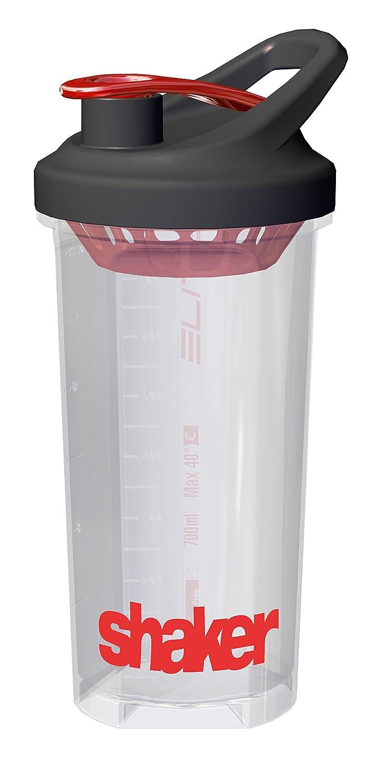 Elite Shaker Bouteille Mixte, Transparent/Rouge 0150401
