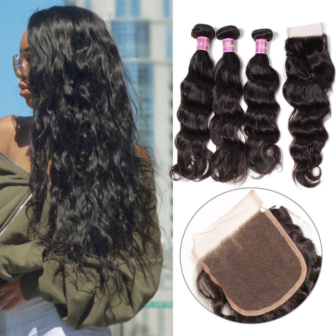 Unice 7A Grade Brazilian Natural Wave Hair 100% Virgin Human Hair 3 Bundles with Closure Natural Color (20 22 24+18Free Closure)