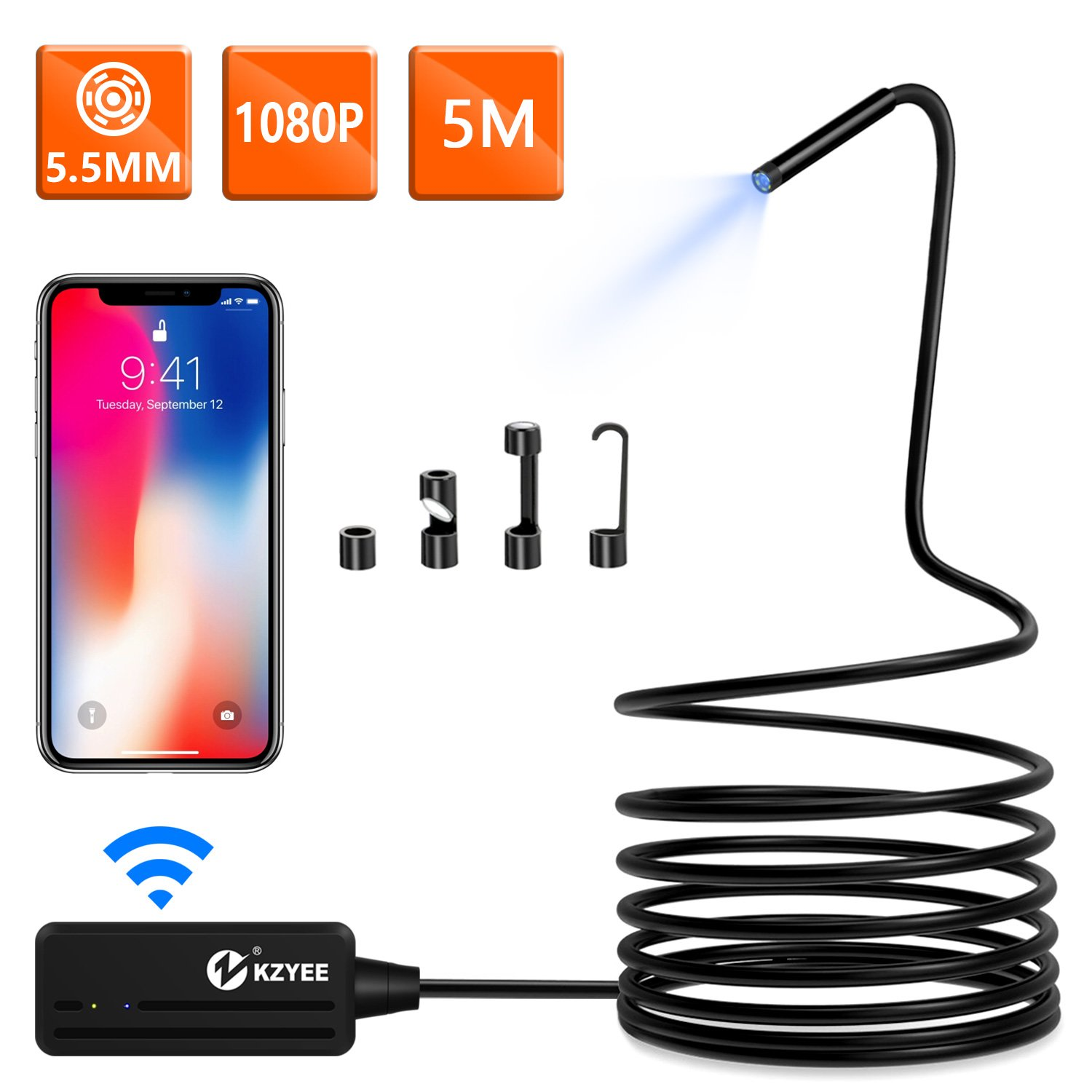 KZYEE Wireless Endoscope, 5.5mm Diameter 1080P 2.0 MP HD Semi-Rigid WiFi Borescope Inspection Camera IP67 Waterproof Snake Camera for Android & iOS iPhone Smartphone Tablet-16.5FT by KZYEE