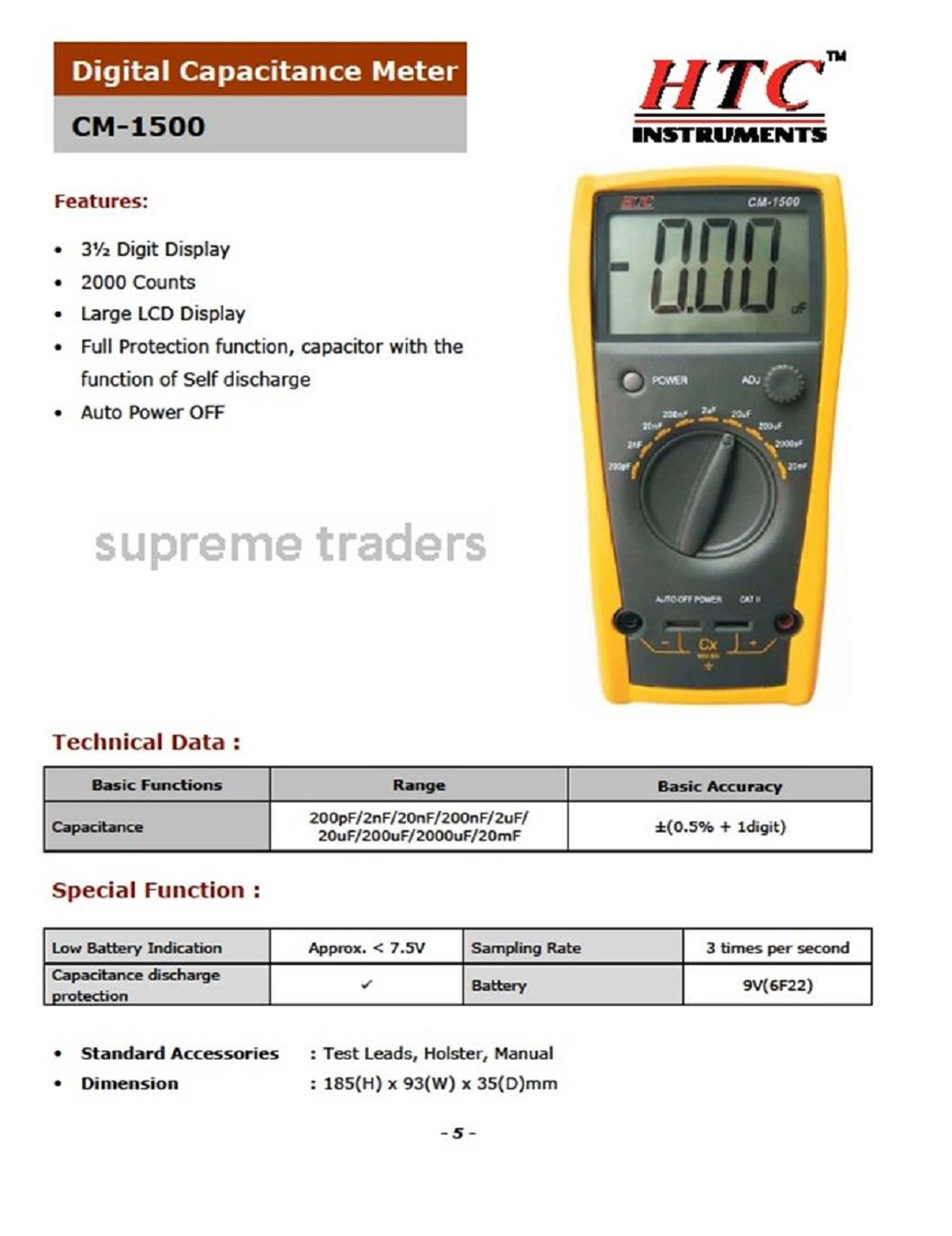 HTC - 3½ Digit Capacitance Meter CM-1500 With Self Discharge Function by  Supreme Traders Supertronics1989