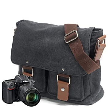 05b5e1047922 Peacechaos Men s Canvas Leather DSLR SLR Vintage Camera Messenger Bag ...