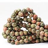 CHEAVIAN 45 颗 8 毫米天然粉紫翠宝石圆形散珠石珠用于珠宝制作 DIY 配件 1 条 38.1 厘米 Unakite 10mm CV-TRYS-60-10