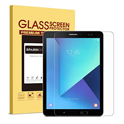 SPARIN Galaxy Tab S3 / Galaxy Tab S2 9 7 Screen Protector - S Pen  Compatible / Tempered Glass / 2 5D Round Edge / Scratch Resistant / Easy  Install for