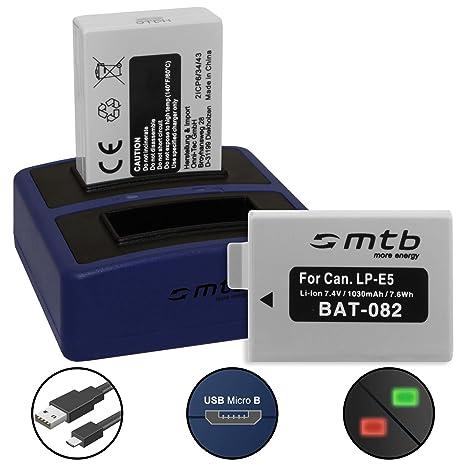 2 Baterías + Cargador Doble Compact (USB) para Canon LP-E5 / EOS 450D, 500D, 1000D / Rebel T1i, XS, Xsi - Cable USB Micro Incluido