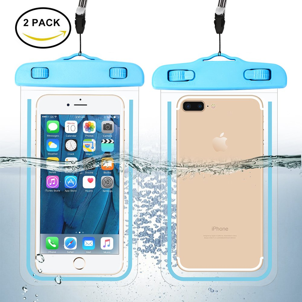 [2 Pack] Waterproof Phone Case, Universal Durable Luminous Noctilucent Underwater Case Cover Dry Bag Pouch up to 6 Inches with Neck Strap for Smartphone(Blue) by Guzack