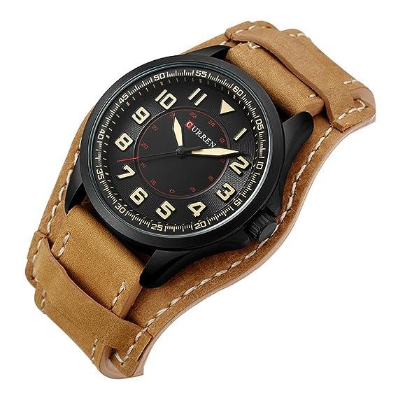 CURREN 8279 Top Brand Luxury Reloj Relojes de pulsera de cuero ocasionales de la nueva manera de los hombres: Amazon.es: Relojes